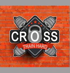 Retro styled fitness emblem vector image