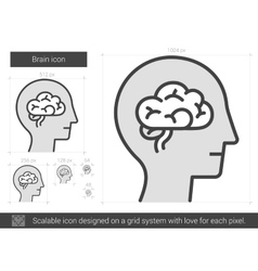 Brain line icon vector