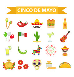 Cinco de mayo celebration in mexico icons set vector