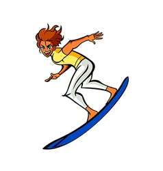 Side view of man on surfboard vector