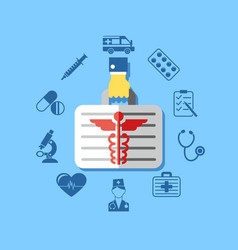 Digital blue red pharmacy medical icons vector