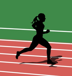 Running silhouettes in sport stadium vector