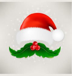 Christmas card with moustaches and santa claus cap vector