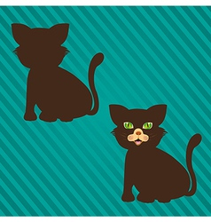 Two types of cat silhouettes on a background of li vector