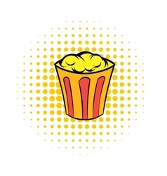 Popcorn in striped bucket comics icon vector