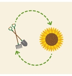 Gardening design work and tools concept vector
