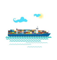 Cargo Container Ship Isolated on White vector image