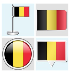 Belgium flag - sticker button label flagstaff vector image vector image