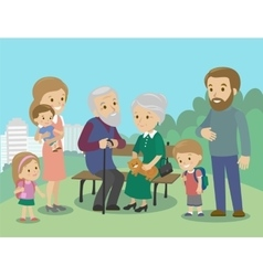 Big family characters with mother father vector image