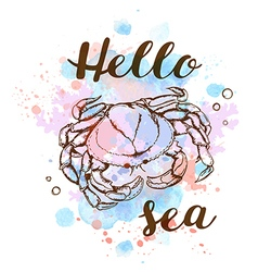 Blue watercolor texture and crab vector image vector image