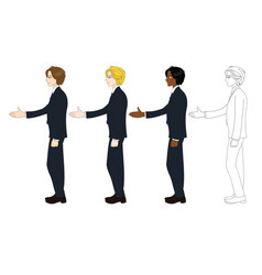 Business man curly hair hand shake vector