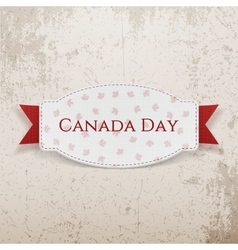 Canada day greeting tag with text and ribbon vector