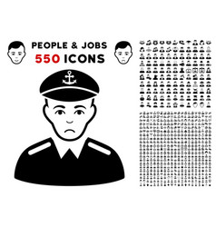 Captain icon with bonus vector