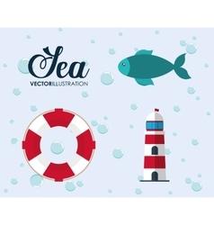 Cartoon icon set sea animal and lifestyle design vector