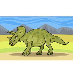 cartoon of triceratops dinosaur vector image vector image