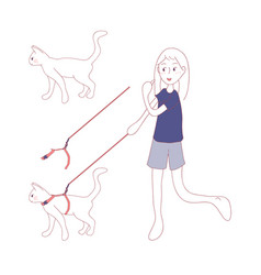 Cat walk on a leash by girl vector