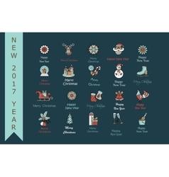 Christmas thin line icons set vector image