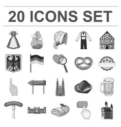Country germany monochrome icons in set collection vector