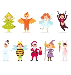 Cute kids wearing costumes vector