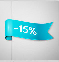 Cyan ribbon with text fifteen percent for discount vector