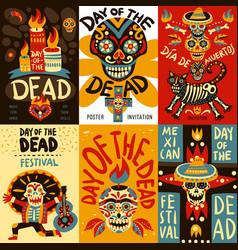 Dead day mexico bannes set vector