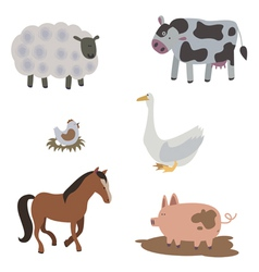 Farm animals and birds vector image