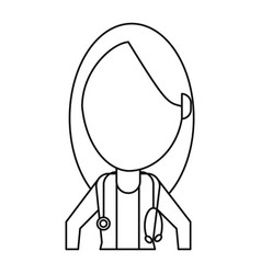 Female doctor health care thin line vector