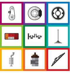 Flat icon auto set of steels shafts windshield vector
