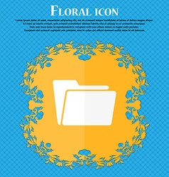 Folder icon Floral flat design on a blue abstract vector image