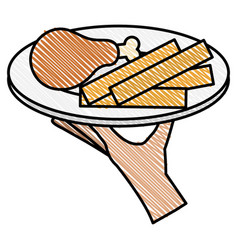 Hand server with thigh chicken and french fries vector