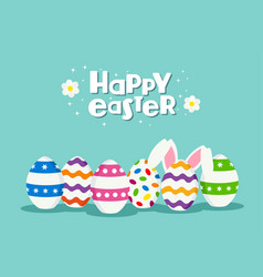 happy easter holiday card of eggs and rabbit vector image vector image
