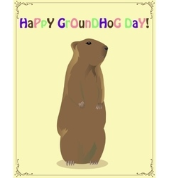 Happy groundhog day card vector