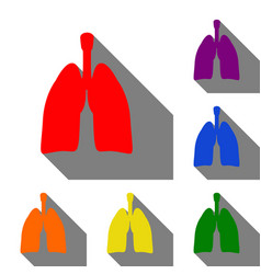 Human organs lungs sign set of red orange vector
