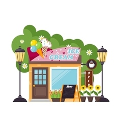 Ice cream shop facade vector