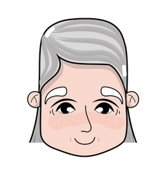 Old woman face with hairstyle and expression vector