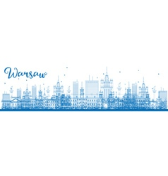 Outline warsaw skyline with blue buildings vector