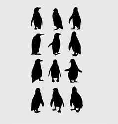 Penguin silhouettes vector