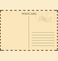 postcard template vintage postcard with stamps vector image vector image