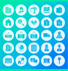 Real estate circle solid icons vector