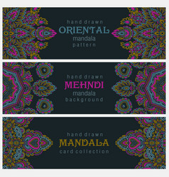 set of three horizontal cards or flyers with vector image vector image