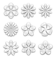 Set of white paper flower buds vector