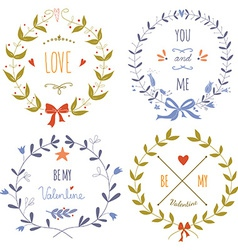 Set of wreaths for the Valentines day vector image vector image