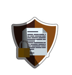 Shield documents security padlock vector