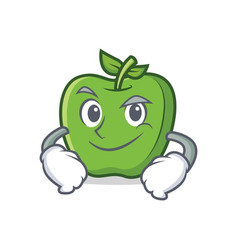Smirking green apple character cartoon vector