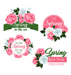 Spring time greeting quotes and flowers set vector