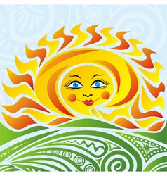 Summer landscape sun vector image vector image