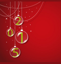 Transparent glass balls on red background vector