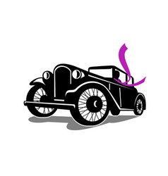 Vintage coupe with flowing scarf retro vector