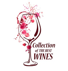 Watercolor emblem with wine glass vector