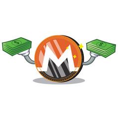 With money monero coin character cartoon vector
